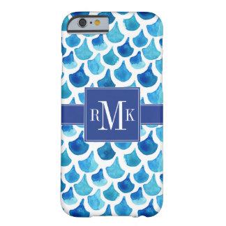 Mönster för blåttvattenfärgfjäll barely there iPhone 6 fodral