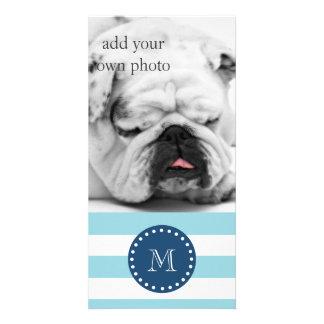 Mönster för blåttvitrandar, marinblå Monogram Anpassade Foto Kort