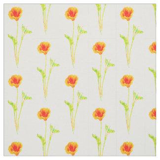Mönster för blomma för Kalifornien vallmo orange Tyg