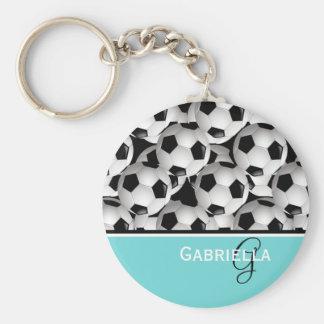 Mönster för boll för fotboll för rund nyckelring