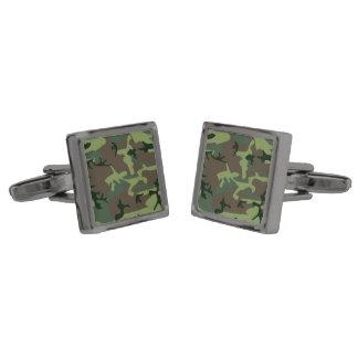 Mönster för brunt för kamouflageCamo grönt Manschetterknappar Med Metallgråfinish