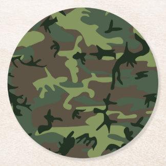 Mönster för brunt för kamouflageCamo grönt Underlägg Papper Rund