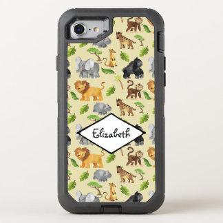 Mönster för djungel för Safari för vattenfärgvild OtterBox Defender iPhone 7 Skal