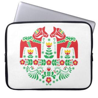 Mönster för folk för svensk Dala häst blom- Laptop Sleeve