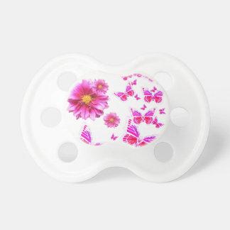 Mönster för Fuchsia rosa dahlias & fjärilsvit Napp