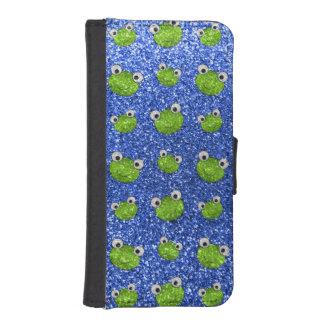 Mönster för glitter för blåttgrodahuvud plånboksfodral för iPhone SE/5/5s