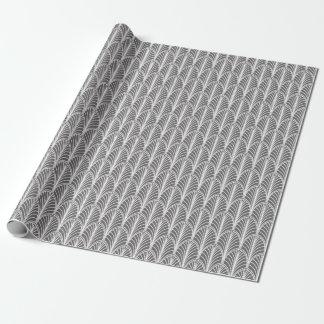 Mönster för grått- och vitvintageDeco fläkt Presentpapper