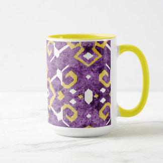 Mönster för gul purpurfärgad ikat för chic stam- mugg