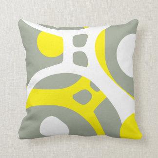 Mönster för gul vit- och grå färgabstrakt kudder kudde