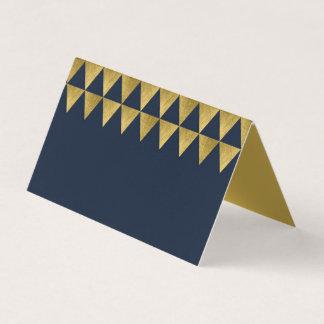 Mönster för guld- triangel för blått och för Faux Placeringskort