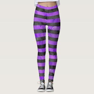 Mönster för Halloween häxarand Purple|Black Leggings