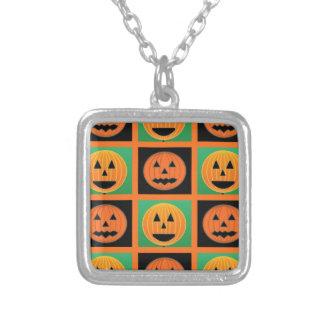Mönster för Halloween pumpaansikte Silverpläterat Halsband