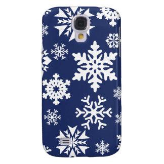 Mönster för helgdag för jul för blåttsnöflingorvin galaxy s4 fodral