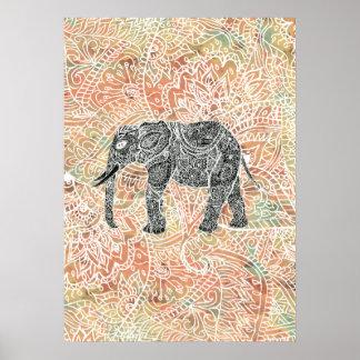 Mönster för Henna för stam- Paisley elefant Poster