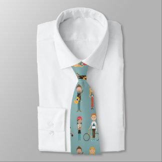Mönster för höfttecknadfolk illustrationer (blått) slips