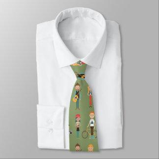 Mönster för höfttecknadfolk illustrationer (grönt) slips