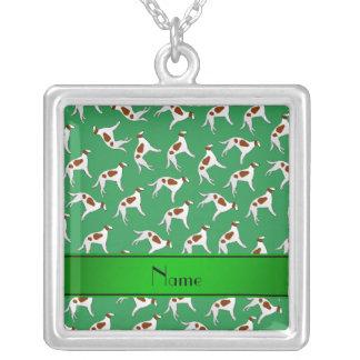 Mönster för hund för borzoi för personlignamngrönt halsband med fyrkantigt hängsmycke