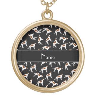 Mönster för hund för borzoi för personlignamnsvart halsband med rund hängsmycke