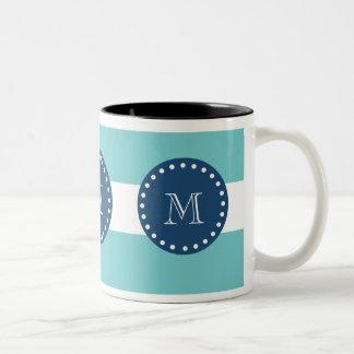 Mönster för krickavitrandar, marinblå Monogram Två-Tonad Mugg