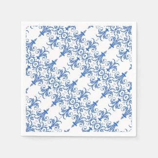 Mönster för ljuskrona för blåttvit franskt pappersservett