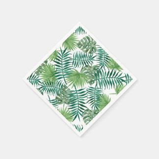 Mönster för löv för palmträd för vattenfärglöv pappersservetter