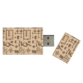 Mönster för Math för geografi för Trä USB-minne