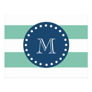 Mönster för Mintgröntrandar, marinblå Monogram Vykort