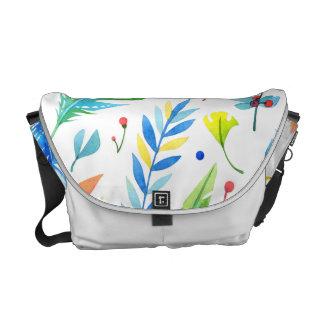 Mönster för moderiktig Blått-Orange blom- Boho Kurir Väskor