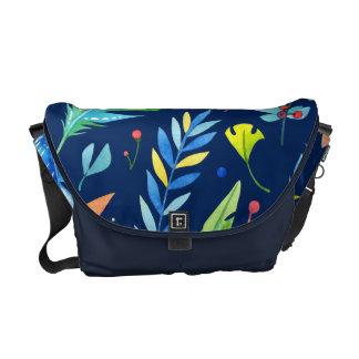 Mönster för moderiktig Blått-Orange blom- Boho Messenger Bag