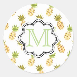 Mönster för Mosaik-Något liknande tropiskt Runt Klistermärke