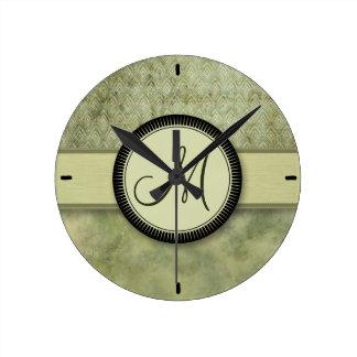 Mönster för Mossgröntfjäder med monogramen Rund Klocka