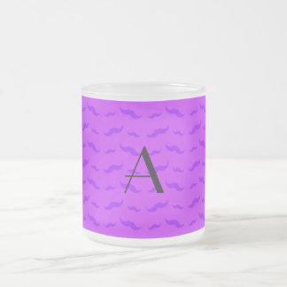 Mönster för mustasch för Monogramneon purpurfärgat Kaffe Mugg