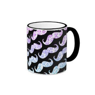 Mönster för mustasch för roliga rosablått blom- da kaffe mugg