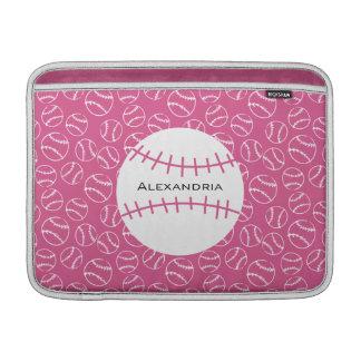 Mönster för personligbaseballsoftball på rosor MacBook air sleeve
