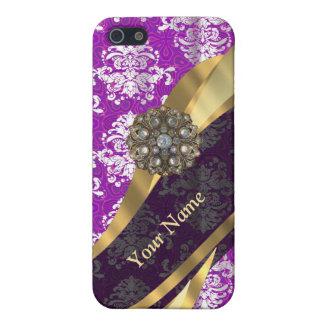 Mönster för purpurfärgad vintage för personlig iPhone 5 fodral
