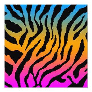 Mönster för randar för tiger för Corey tiger80-tal Fyrkantigt 13,3 Cm Inbjudningskort