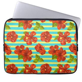 Mönster för röd hibiskus för sommar Seamless Laptop Sleeve