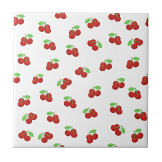 Mönster för röda körsbär för vintage körsbärsrött kakelplatta