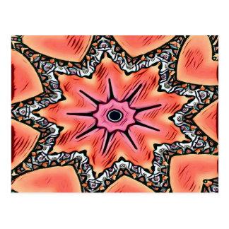 Mönster för rosa Kaleidoscope för persika skraj Vykort
