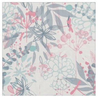 Mönster för rosa- och blåttabstraktblommor tyg