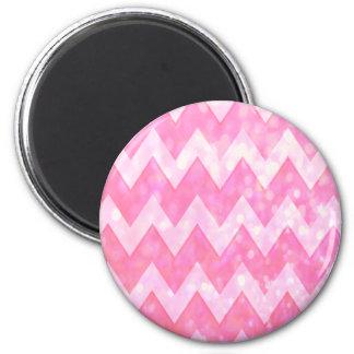 Mönster för rosaglittersparre magnet rund 5.7 cm