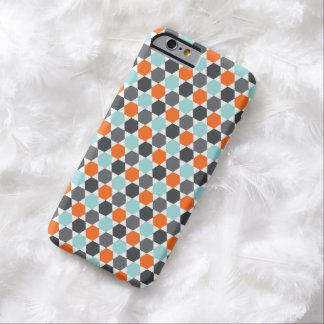 Mönster för sexhörning för gråa orange aquablått barely there iPhone 6 skal