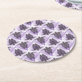 Mönster för Shamanic havssköldpaddor - violet Underlägg Papper Rund