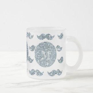 Mönster för silverglittermustasch din Monogram Mugg