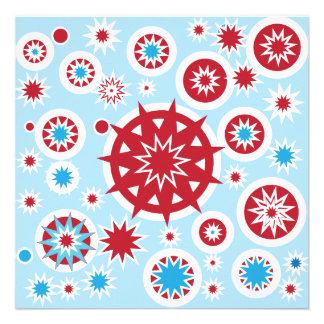 Mönster för snöflingor för vinterhelgdagblått rött anpassningsbara inbjudningskort