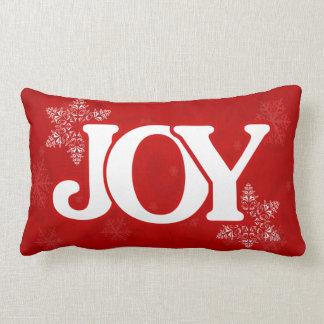 Mönster för Snowflake för julGLÄDJE elegantt rött Lumbarkudde