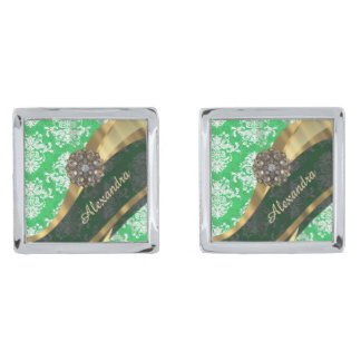 Mönster för söt för personlig grönt damastast silverpläterade manschetterknappar