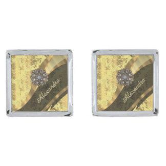 Mönster för söt för personlig gult damastast silverpläterade manschetterknappar