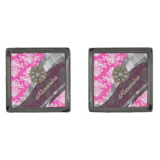Mönster för söt för personlig rosa damastast stålgrå pläterade manschetterknappar