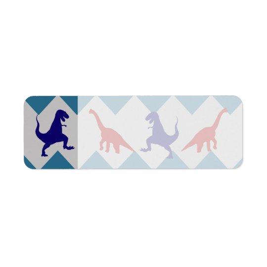 Mönster för sparre för blått för roliga pojkeDinos Returadress Etikett